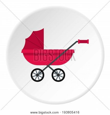 Pram icon in flat circle isolated vector illustration for web