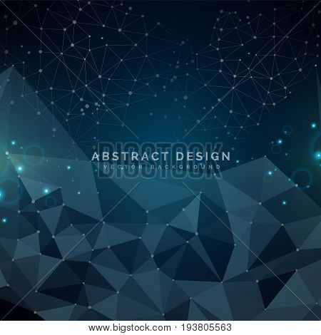 Abstract linear background for design technology and networking science. Dark and blue with connecting dots and lines