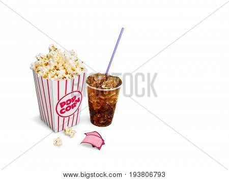 Box pop corn cola popcorn take away take out
