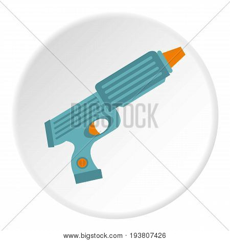 Blue plastic water gun icon in flat circle isolated vector illustration for web