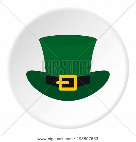 Green top hat with buckle icon in flat circle isolated vector illustration for web