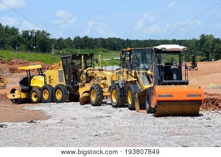 Heavy construction equipment at site Athens, Georgia, USA