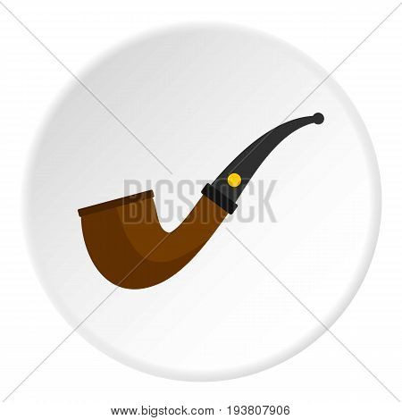 Wooden pipe for smoking icon in flat circle isolated vector illustration for web