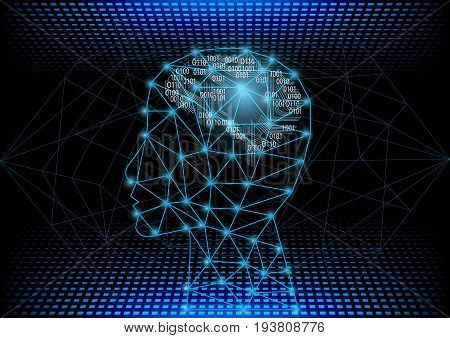 Abstract digital and technology background. Artificial Intelligence with machine deep learning concept.