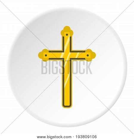 Holy cross icon in flat circle isolated vector illustration for web