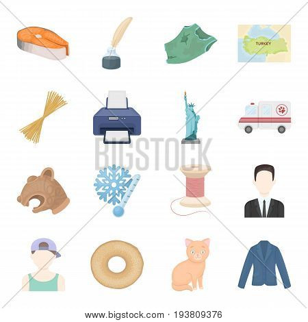 , textiles, tourism, work and other  icon in cartoon style.dessert, cat, animal icons in set collection.