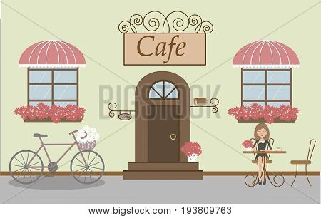 Pretty scenery in a rustic style. A cafe, beautiful girl, two windows with a striped awnings, door, stairs, red flowers. A bike and basket of daisies. A cute table and chairs. Vector illustration