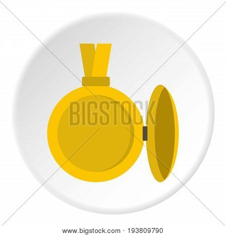 Medallion with blank space for photo icon in flat circle isolated vector illustration for web