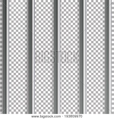 Jail Bars Vector Illustration. Isolated On Transparent Background. 3D Iron Or Steel Prison House Grid