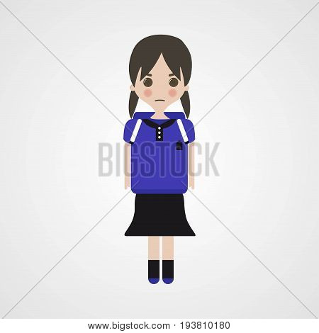 Angry Schoolgirl Character Vector Illustration Eps File
