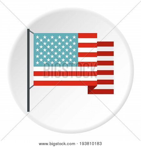 American flag icon in flat circle isolated vector illustration for web