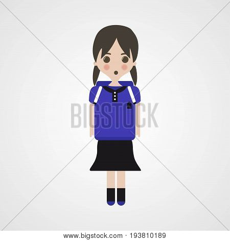 Confused Schoolgirl Character Vector Illustration Eps File
