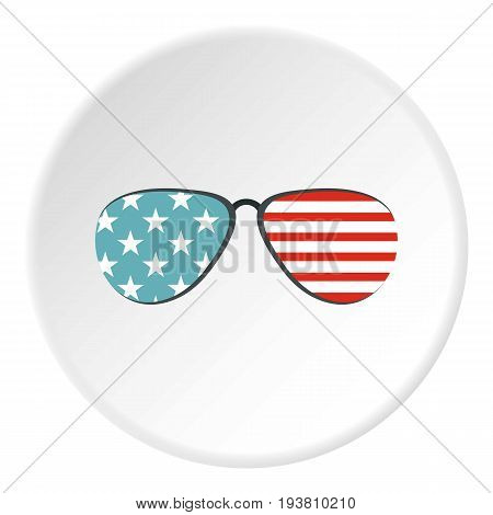 American glasses icon in flat circle isolated vector illustration for web