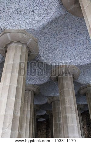 Ceiling and columns of the Hypostyle Room under Nature Square in Park Güell Barcelona