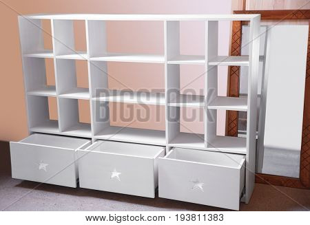 Wall unit made by carpenter in workshop