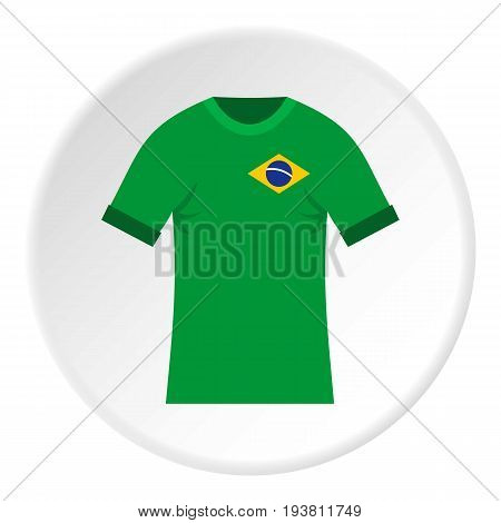 Brazilian yellow and green soccer shirt icon in flat circle isolated vector illustration for web