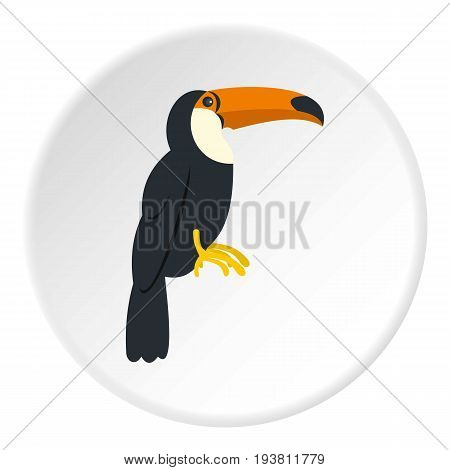 Toucan, ramphastos vitellinus icon in flat circle isolated vector illustration for web