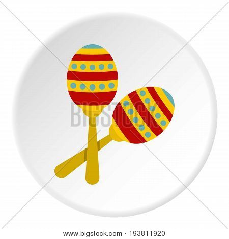 Colorful maracas icon in flat circle isolated vector illustration for web