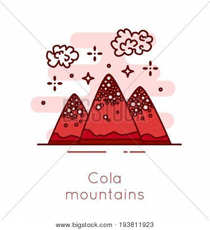 Cola mountains and popcorn clouds in thin line flat design. Fast food vector banner.