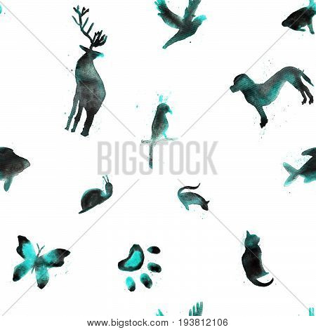 Seamless pattern watercolor animals fish hare parrot snail cat bird butterfly rat dog deer on white background