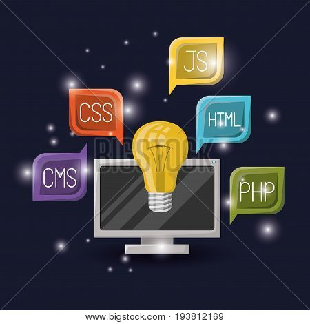 blue dark background with brightness of light bulb and computer display with web programming language codes in dialog box vector illustration