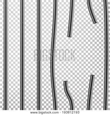 Broken Prison Bars Vector. Way Out To Freedom. Jail Break Concept. Prison-Breaking Illustration. Transparent