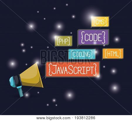 blue dark background with brightness of megaphone with web programming language codes in rectangular textbox vector illustration