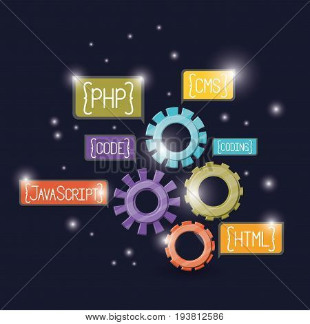 blue dark background with brightness of gears with web programming language codes in rectangular textbox vector illustration