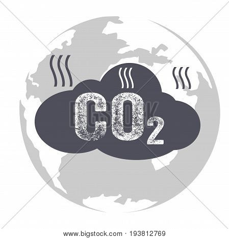 Co2 emissions icon cloud carbon dioxide emits symbol pollution concept smog damage from fumes pollution pollution bubbles combustion products isolated modern design sign