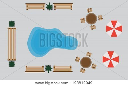 Set of vector wooden benches and treetop symbols. Collection for landscaping, top view, plan,