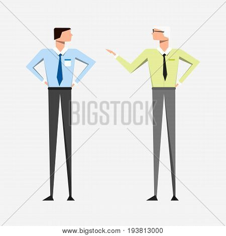 Slender men in business clothes with a tie are talking on light background. Material palette. Vector illustration. Eps10.