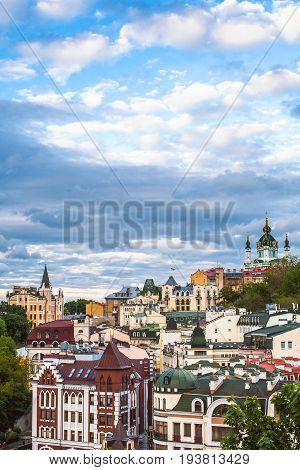 Kiev Ukraine. Saint Andrew's Church Castle of Richard the Lionheart and Andrew's Descent