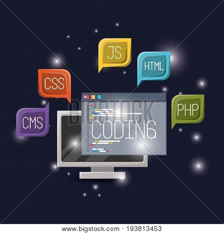 blue dark background with brightness of display computer and program window coding with textbox web programming language codes vector illustration
