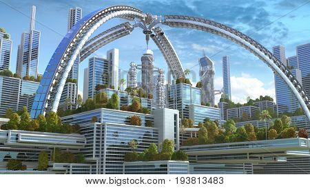 3D Illustration of a futuristic