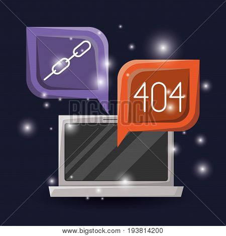 blue dark background with brightness of laptop and dialog box with web programming language codes icons chains and error vector illustration