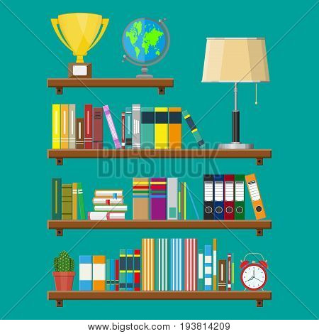 Library wooden book shelf. Globe, lamp, clocks, cactus, cup. Bookcase with different books. Vector illustration in flat style