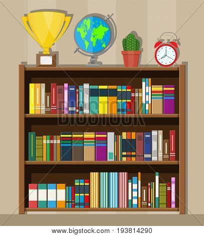 Library wooden book shelf. Globe, clocks, cactus, cup. Bookcase with different books. Vector illustration in flat style