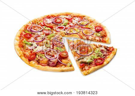 Pizza slice isolated on white background, with onions, bacon and cherry tomatoes, thin pastry crust, closeup