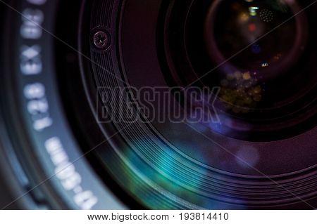 Close-up of lense in modern digital camera