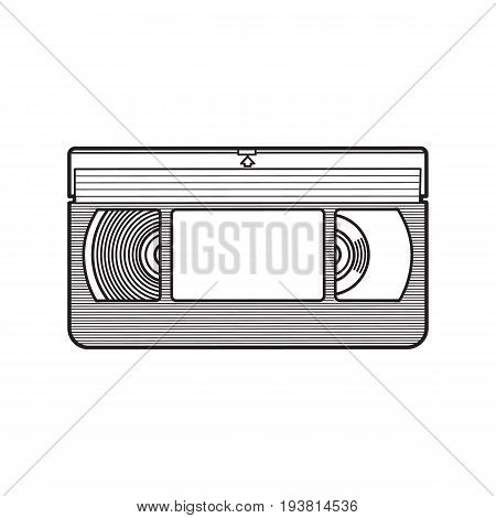 Video cassette, VHS videotape from 90s, sketch vector illustration isolated on white background. Front view of hand drawn video tape, videocassette, VHS with empty label sticker, retro object from 90s