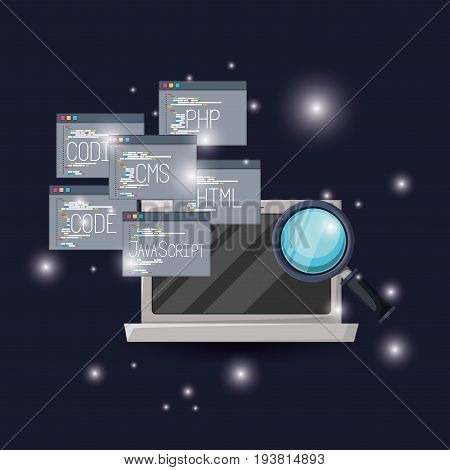 blue dark background with brightness of laptop and set program windows of programming language codes with magnifying glass vector illustration
