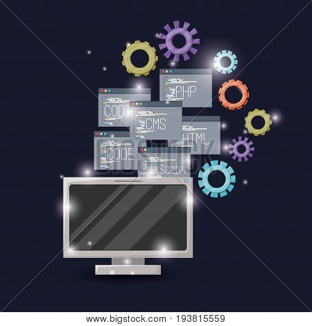 blue dark background with brightness of display computer and gears mechanism with set program windows of programming language codes vector illustration