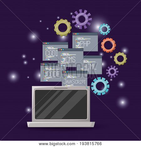 violet background with brightness of laptop device and gears mechanism with set program windows of programming language codes vector illustration