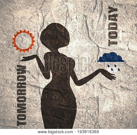 An illustration of a TV weather reporter at work. Weather forecast icons. Today and tomorrow words. Concrete grunge texture