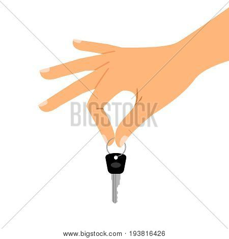 Hand holding key isolated on white background. Passing key vector illustration for car sales or house sale concepts