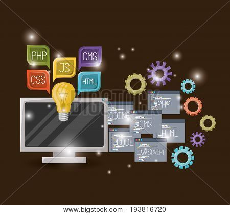 red wine color background with brightness of display computer and gears mechanism with set program windows of programming language codes vector illustration