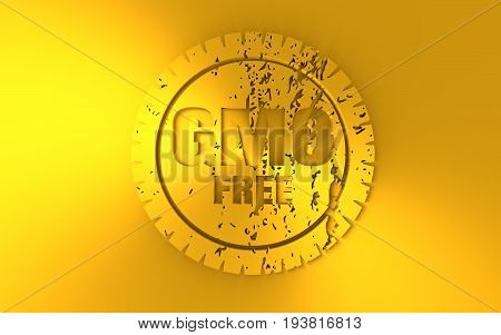 Distressed stamp icon. Graphic design elements. 3D rendering. GMO free text. Golden metallic material