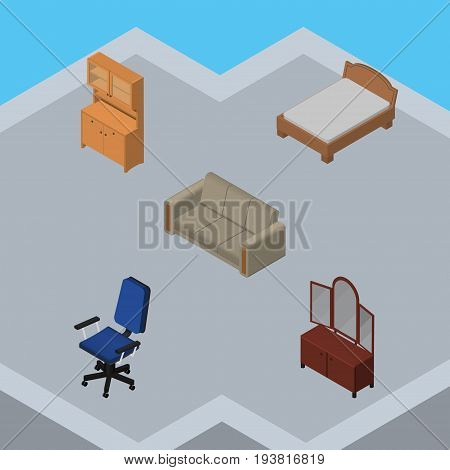 Isometric Furniture Set Of Bedstead, Office, Cupboard And Other Vector Objects. Also Includes Bedstead, Wardrobe, Armchair Elements.