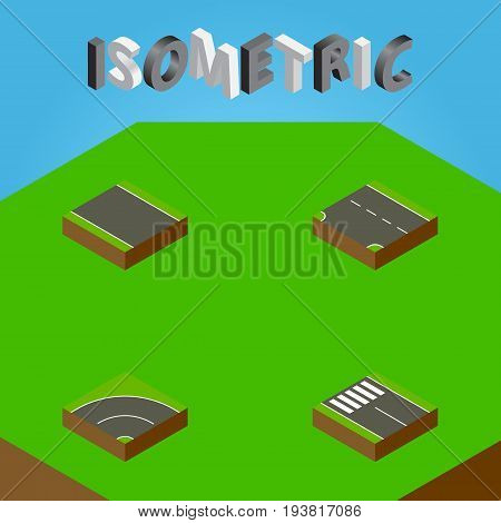 Isometric Way Set Of Without Strip, Strip, Downward And Other Vector Objects. Also Includes Asphalt, Down, Downward Elements.