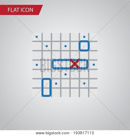 Isolated Battle Ship Flat Icon. Sea Fight Vector Element Can Be Used For Ship, Battle, Game Design Concept.